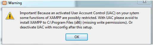 TYPO3 8.0 - Warnung zu XAMPP-Funktionen