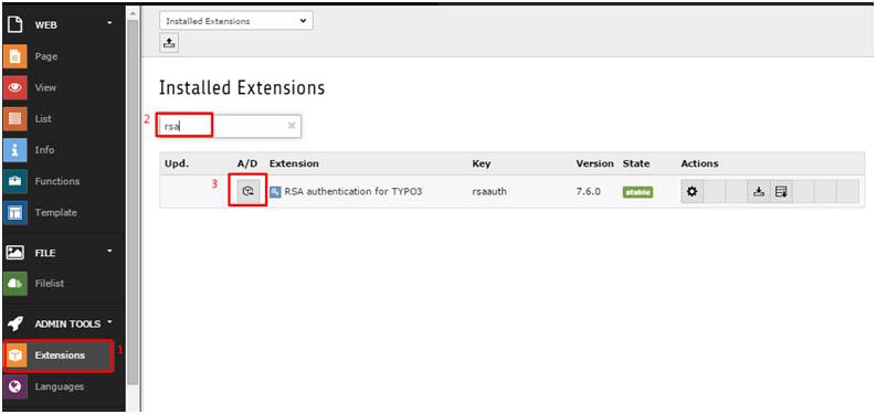 TYPO3 8.0 - Extension rsa im TYPO3 Backend auswählen