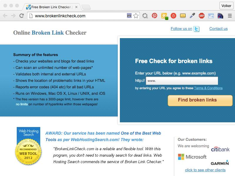 die Website www.brokenlinkcheck.com
