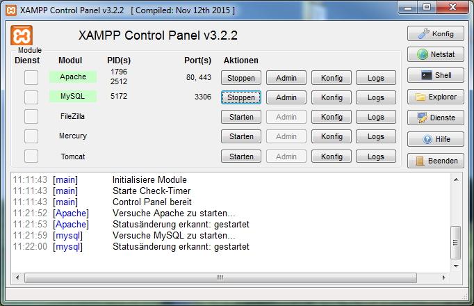 TYPO3 8.0 - XAMPP Controlpanel