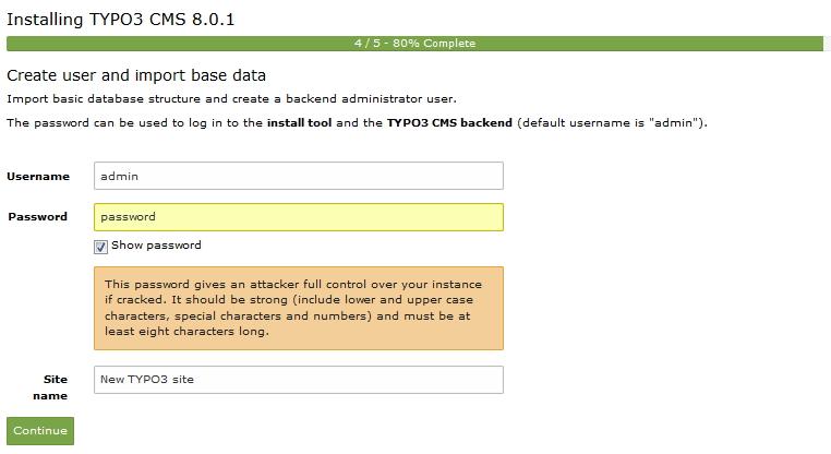 TYPO3 8.0 - Passwort kreieren für TYPO3 Database