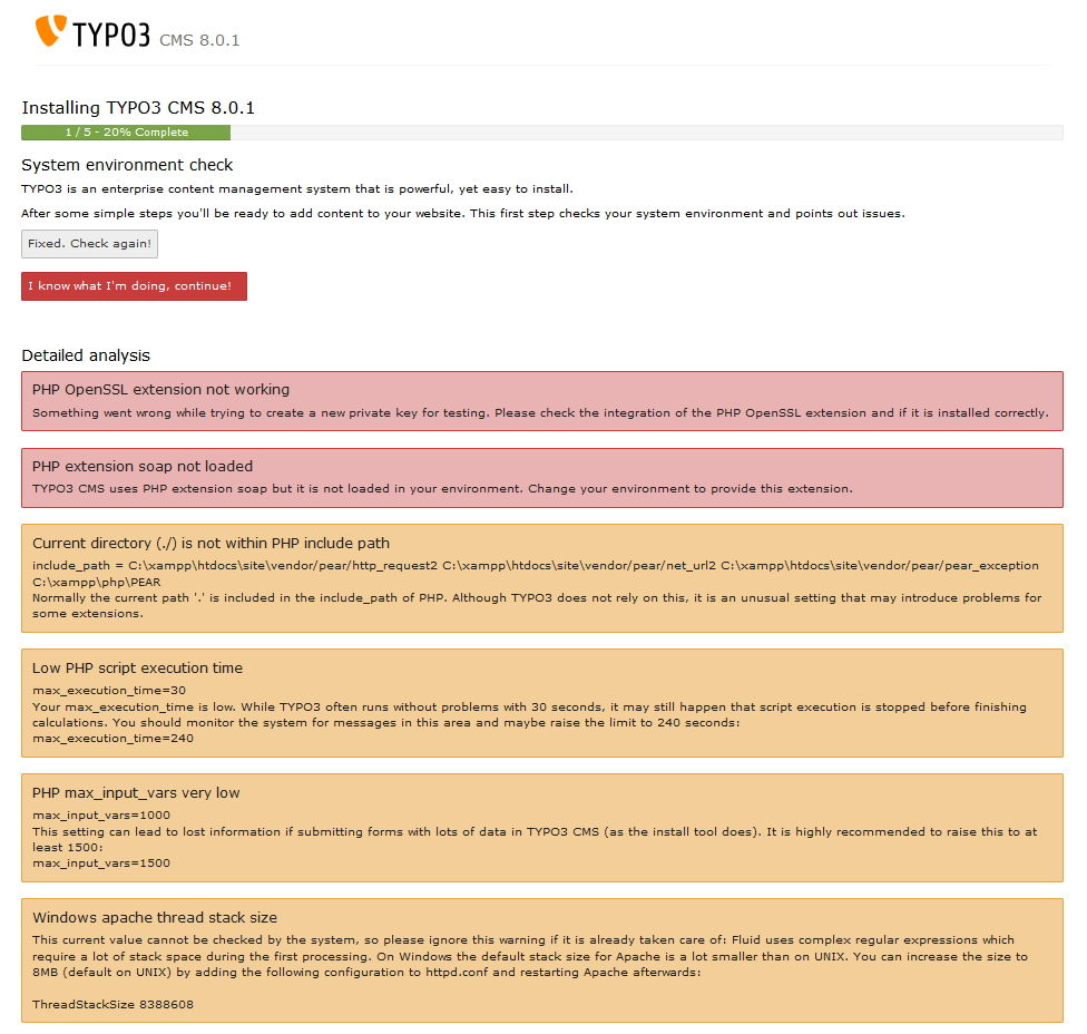 TYPO3 8.0 - Fehlermeldung TYPO3 Installation 1