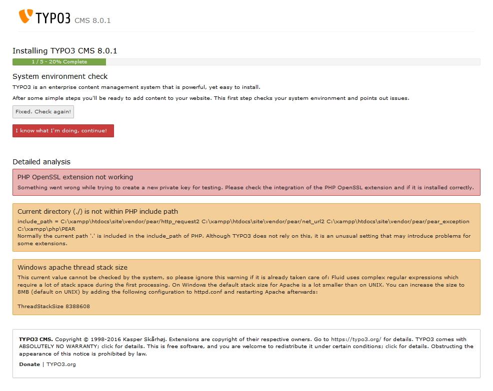 TYPO3 8.0 - Fehlermeldung TYPO3 Installation 2