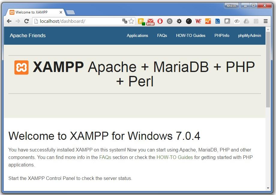 TYPO3 8.0 - Xampp localhost