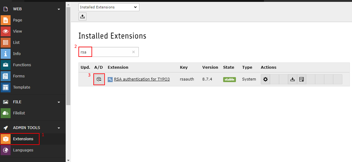 Scrennshot TYPO3 8.7 Installed Extensions