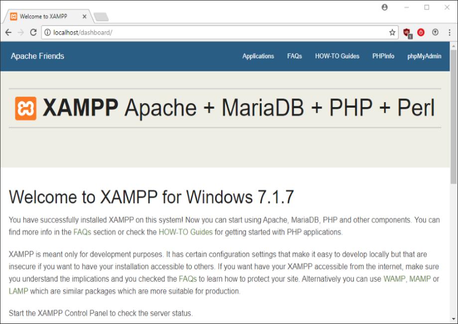 Screenshot TYPO3 8.7 localhost XAMPP