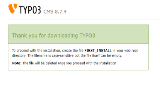 Screenshot TYPO3 8.7 Fenster nach Download