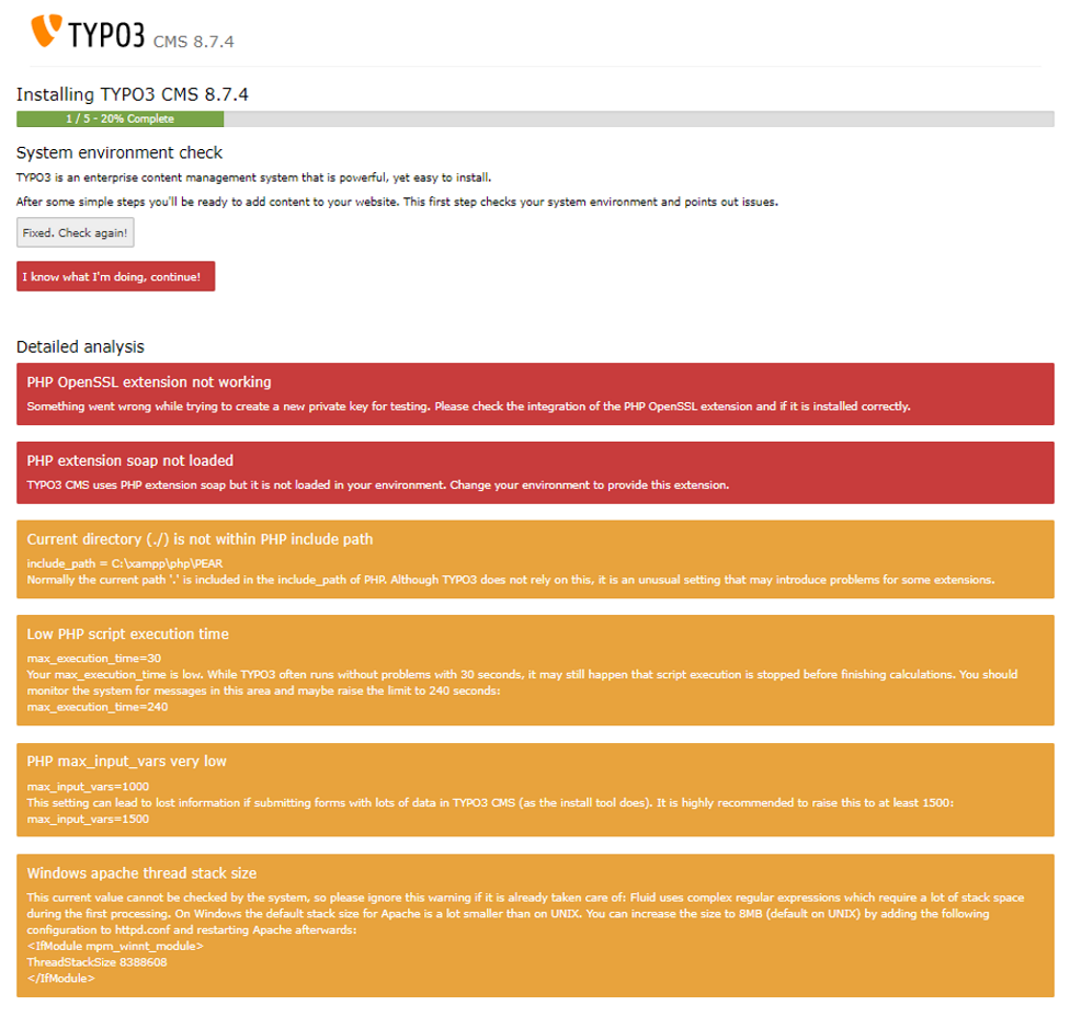 Screenshot TYPO3 8.7 Installationsfenster 1