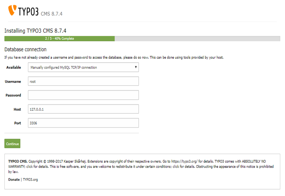 Screenshot TYPO3 8.7 Installationsfenster 3