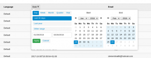 Date filter showing a date range picker