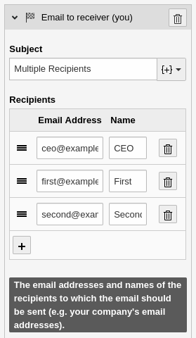Table with multiple Email addresses and names and controls to add/remove rows