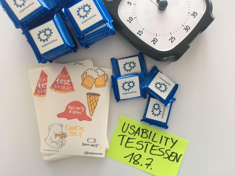 Dabei an den Usability Testen: Scrum Uhr und Goodies